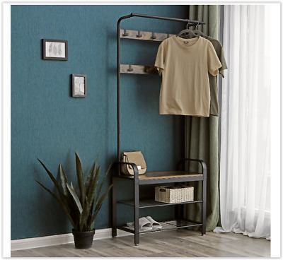 Industrial Style Metal Clothes Rail Rack Stand Rustic Wood Retro Vintage Garment