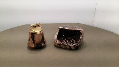 Blue Mountain Pottery Ashtray and Lighter in Mocha