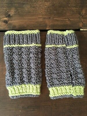 Cable Knit Finger-less Mitten Gloves With Thumb Hole Grey/Lime For Women