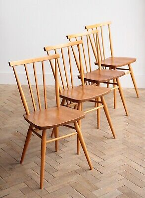 Set of 4 Vintage Blonde Ercol Elm Dining Chairs Mid Century