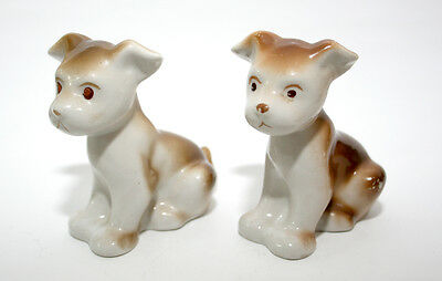 2 pcs Cute Rare 1970s USSR Soviet Porcelain Figurines Statues Puppy Dog + Gift