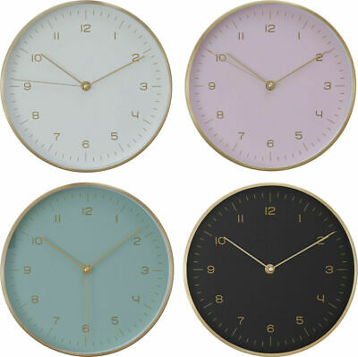 Elko Round Wall Clock White Black Green Pink Analogue Modern Living Room Time
