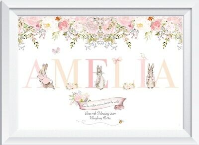 Personalised baby girl Peter Rabbit print picture nursery walldecor art gift