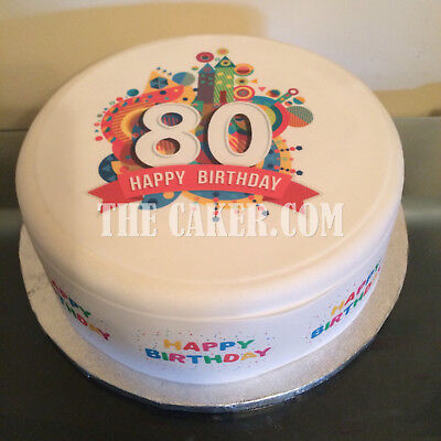 80th Birthday pre-cut Edible Icing Cake Topper or Ribbon 01