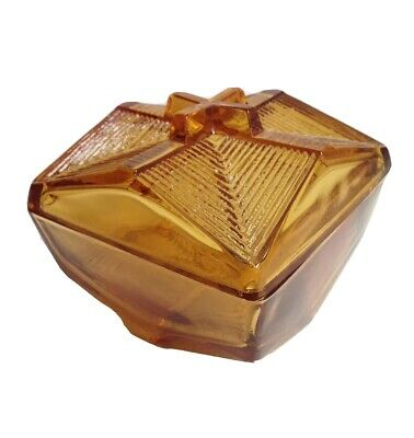Vintage Amber Glass Mid Century Modern Covered Candy Dish Trinket Box
