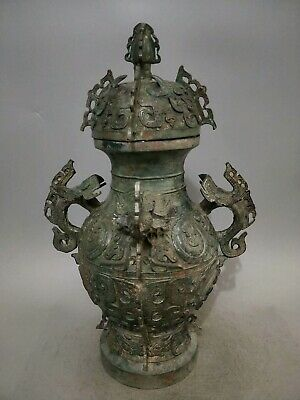 "25"" Chinese old Antique bronze Western Zhou carved double ears jar pot Vase"