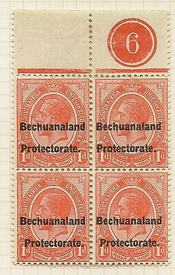 BECHUANALAND POSTAL FISCAL 1921 SOUTH AFRICA KGV 1d SGF3 RARE PLATE 6 BLK OF 4