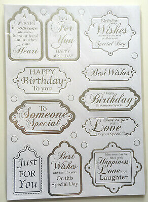 Craftwork Cards Gold Foiled Sentiments 96 Die Cut All Occasion Sentiments