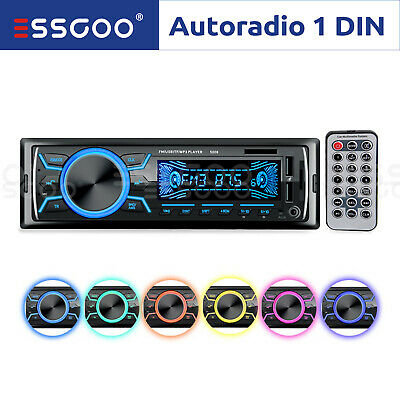 AUTORADIO Bluetooth Stereo MP3 Player AUX-In Zwei 2 USB/TF/AUX 1 DIN 7 Farben