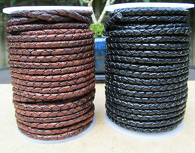 Quality Braided Leather Cord 3mm  Genuine Real Leather  Antique Brown