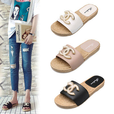 Womens Slip On Pearl Flat Sliders Ladies Summer Flip Flops Slipper Mules Sandals