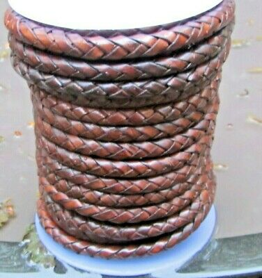 Top Quality Braided Leather Cord 6mm  6 ply Genuine Real Leather