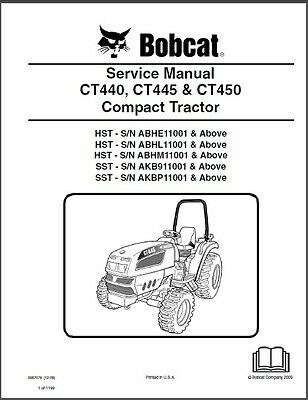Bobcat CT440 CT445 CT450 Compact Tractor Service Manual on a CD