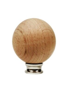 Lamp Finial-SOLID BEECH WOOD BALL-W/Dual Thread Base/4 Plated Finishes-Small-FS