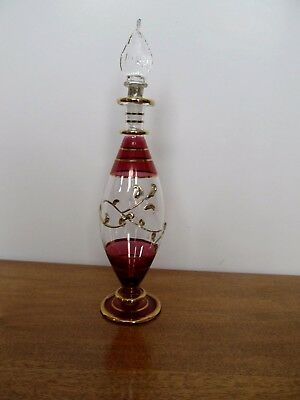 NEW Hand Blown Cranberry Red Glass w Gold Accents Perfume Bottle with Dauber