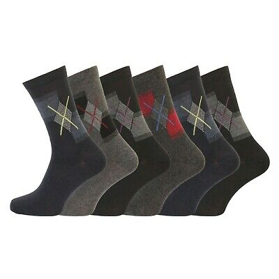 Mens Soft Cotton Socks Argyle Diamond UK 6-11 EUR 39-45 Buy it Now (6 12 Pk)