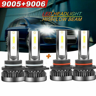 4X 9005 9006 mini LED Combo Headlight Kit Bulbs 6000K White Hi-Lo Beam Lamp US