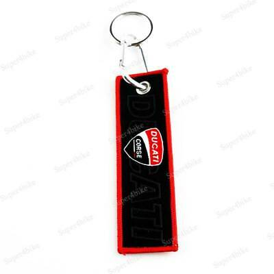 For Ducati Embroidery Double Side Motorbike Gift Keychain Key Tag Racing Keyring