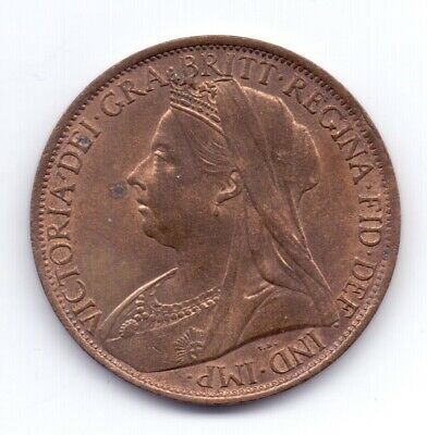 1901 Queen Victoria Penny Coin 1d Old Head Pennies Lustre