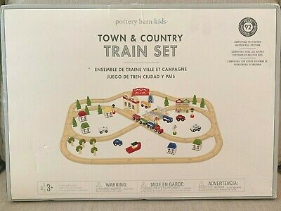 Pottery Barn Kids Town and Country Wooden Train Set ~ 92 Pieces