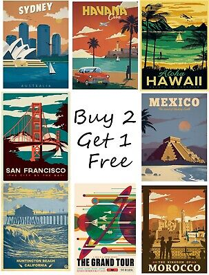 Vintage Retro Travel Posters Print Wall Art A4 A3 A2