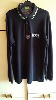 New HUGO BOSS Medium Black with Green /White Trim Short Sleeve Cotton Polo Shirt