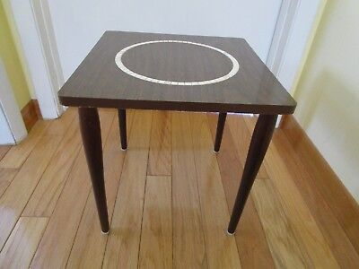 "MID CENTURY MODERN side Table Formica speckled Mini TILE Tapered legs 14¾""square"