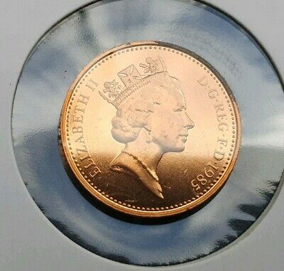 1985 One Pence Coin. Brilliant unciirculated 1p piece. UK Decimal Coinage