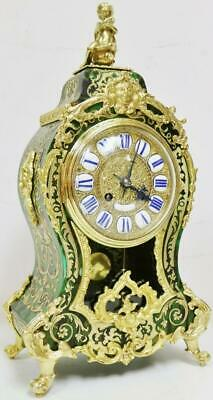 Rare Antique French Ormolu Inlaid Boulle  8 Day Green Shell Bracket Mantel Clock