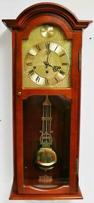 Vintage Slimline German 8 Day Mahogany Musical Westminster Chime Wall Clock