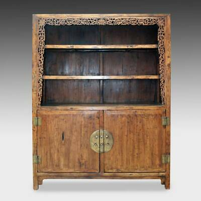 Rare Antique Chinese Walnut Wood Bookcase Cabinet Furniture China 18Th C.