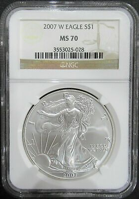 2007 W Burnished Silver Eagle Ngc Ms 70 With W Mint Mark
