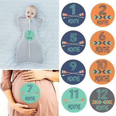 12pcs Baby Monthly Sticker Baby Belly Stickers Milestone Monthly Age Sticker