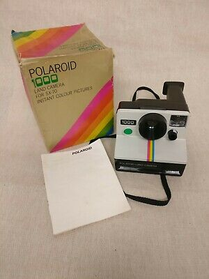 Vintage Polaroid 1000 Land CameraGreen Button - With Box And Instructions