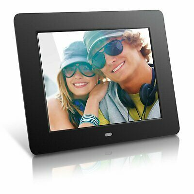 Aluratek 8 Inch LCD Digital Photo Frame USB SD/SDHC with Built-in Clock - Black