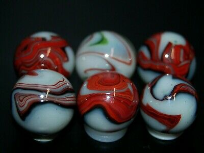 Six RDR Oxblood Swirl Marbles Made 3-12-16 Lot 1 KEEPERS  9.95