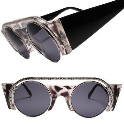 Funky Vampire Goth Steampunk Costume Party Gold Round Side Shield Sunglasses