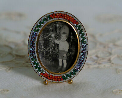 Micro Mosaic Frame - Vintage Made in Italy  Antique Photo Toddler Christmas Tree