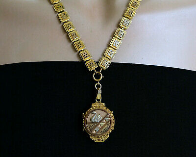 Antique  Victorian Book Chain Necklace and Aesthetic Swan Bird Locet
