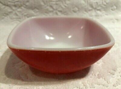 Vintage PYREX 1949-53; Square PRIMARY-Red Large-Size Hostess-Ramekin;12-oz