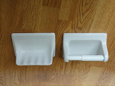 Bath Room Set - Ceramic Soap Dish and Tissue Holder
