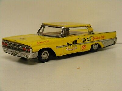 Vintage 1961 Ford  Yellow Cab Taxi  Japan Tin Friction