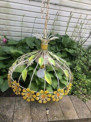 Vtg Ceiling Hanging Light Lamp Floral Swag Flower Retro Metal Working Wire Rare