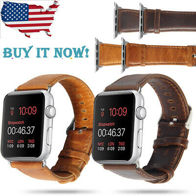 40mm 44mm Retro Genuine Leather iWatch Band Men Casual Strap For Apple Watch 4