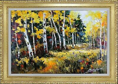 Framed Oil On Canvas, Texture Painting, Birch Tree Landscape, Signed by Antonio