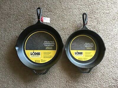 Lodge Cast Iron Skillet Maple leaf and Loon Design set. Collectible Canadiana.