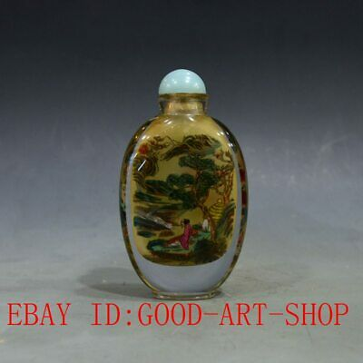 Large Antique China Glass Intemal Hand-painted landscape & Old Man Snuff Bottles