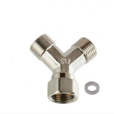 "1Pc Copper Dishwasher Washing Machine Tap Y Dual Splitter 1/2"" Hot"