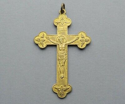 French, Antique Religious Crucifix. Jesus Christ Cross. INRI. Medal. Pendant.
