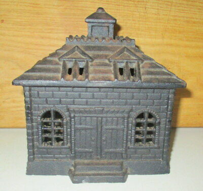 Large Antique Cast Iron Architectural Shaped Bank Building Still Coin Bank